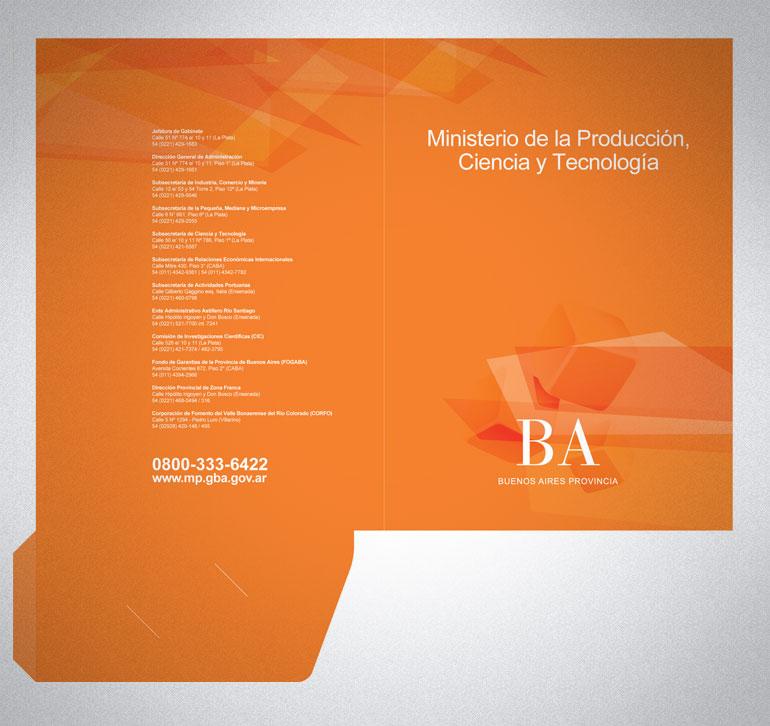 Carpeta con solapa para el Ministerio de la Producción, Ciencia y Tecnología de la Provincia de Bs As
