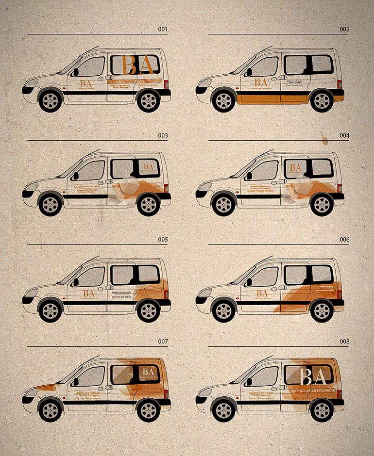 diseño gráfico para aplicación en vehículos