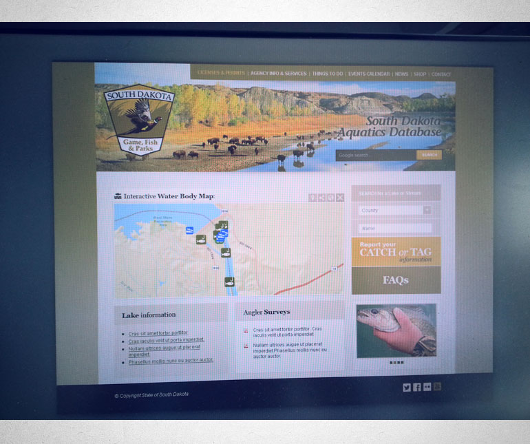 Entorno web para micrositio de Caza y Pesca del Estado de Dakota