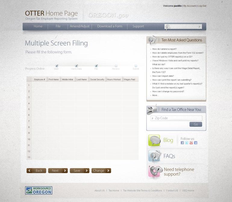 Website para carga de datos de empleadores del Estado de Oregon con desarrollo de Base de datos