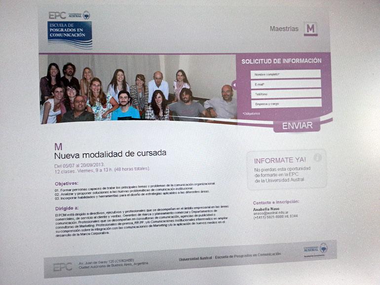 Landing page para Escuela de posgrados de comunicación de la Universidad Austral